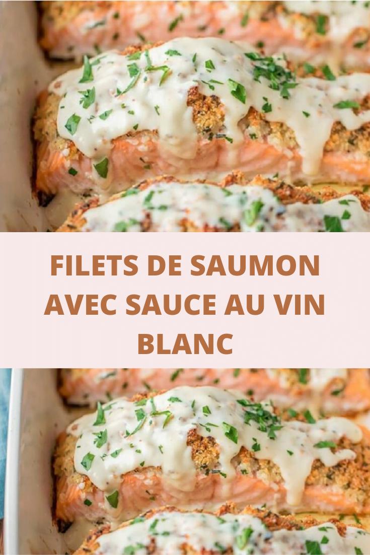 Filets de saumon avec sauce au vin blanc