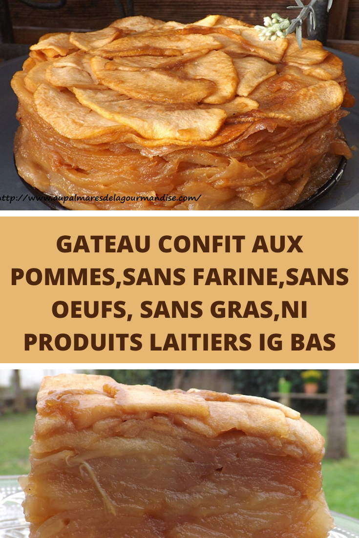 Gateau confit aux pommes, sans farine, sans oeufs, sans gras, ni produits laitiers IG bas