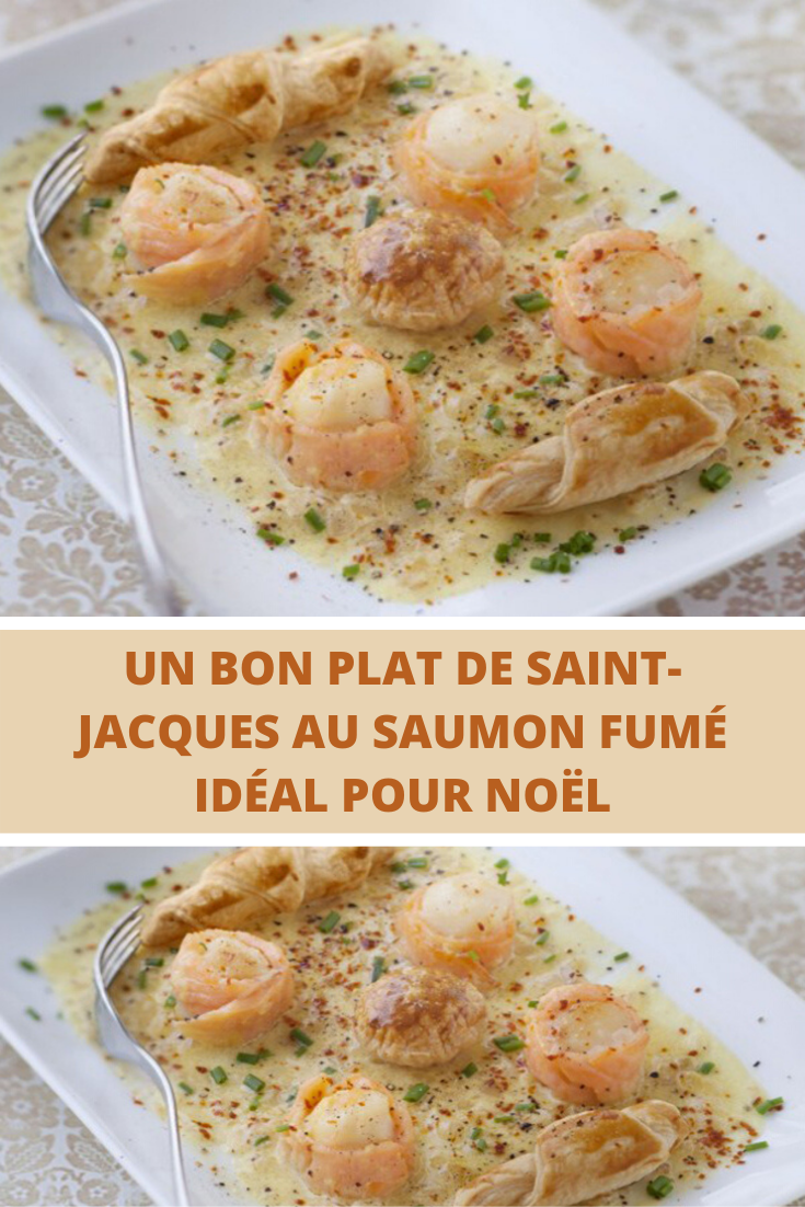 Un bon plat de Saint-Jacques au saumon fumé