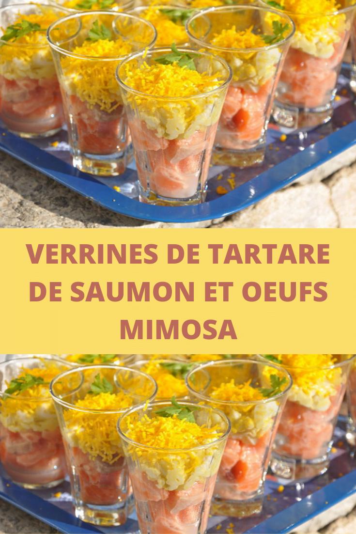 Verrines de tartare de saumon et oeufs mimosa
