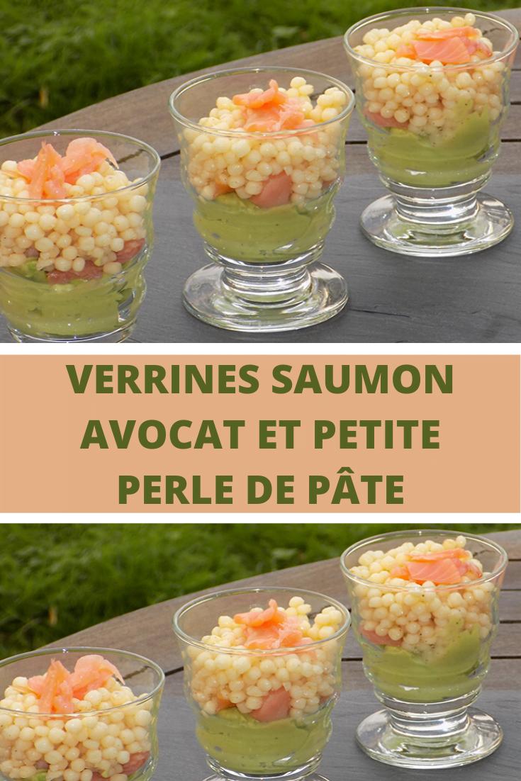 Verrines saumon avocat et petite perle de pâte