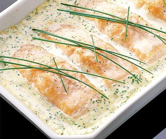 Filets de saumon à la crème ciboulette