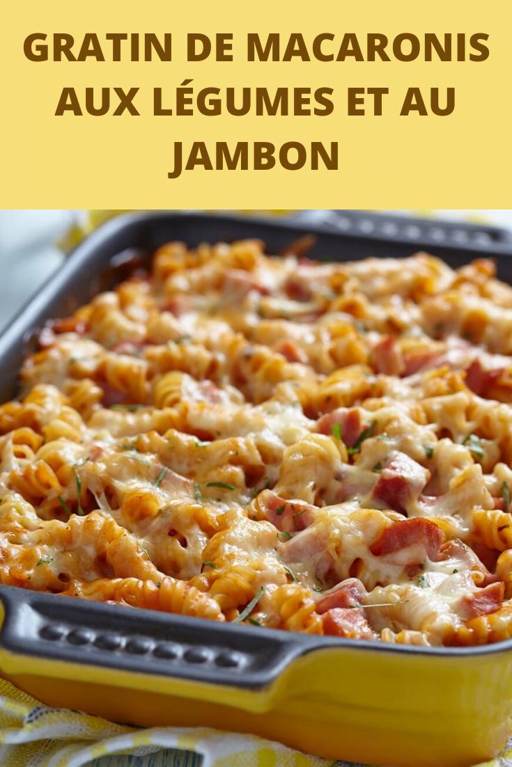 Gratin de macaronis aux légumes et au jambon