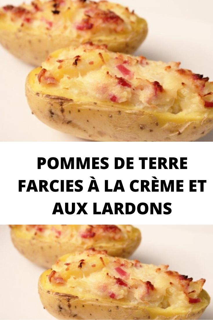 Pommes de terre farcies à la crème et aux lardons