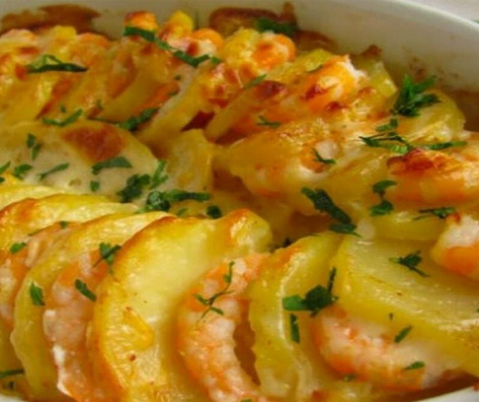 Recette santé délicieux gratin de crevettes et pommes de terre sans lait, sans gluten
