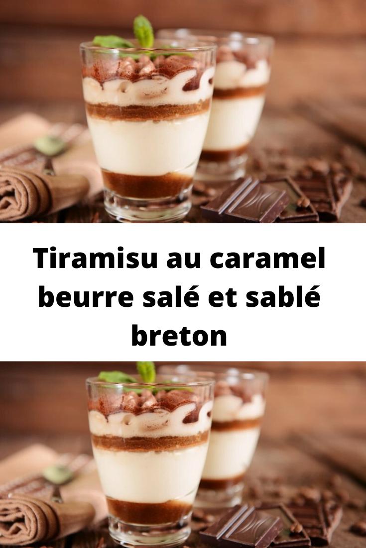 Tiramisu au caramel beurre salé et sablé breton