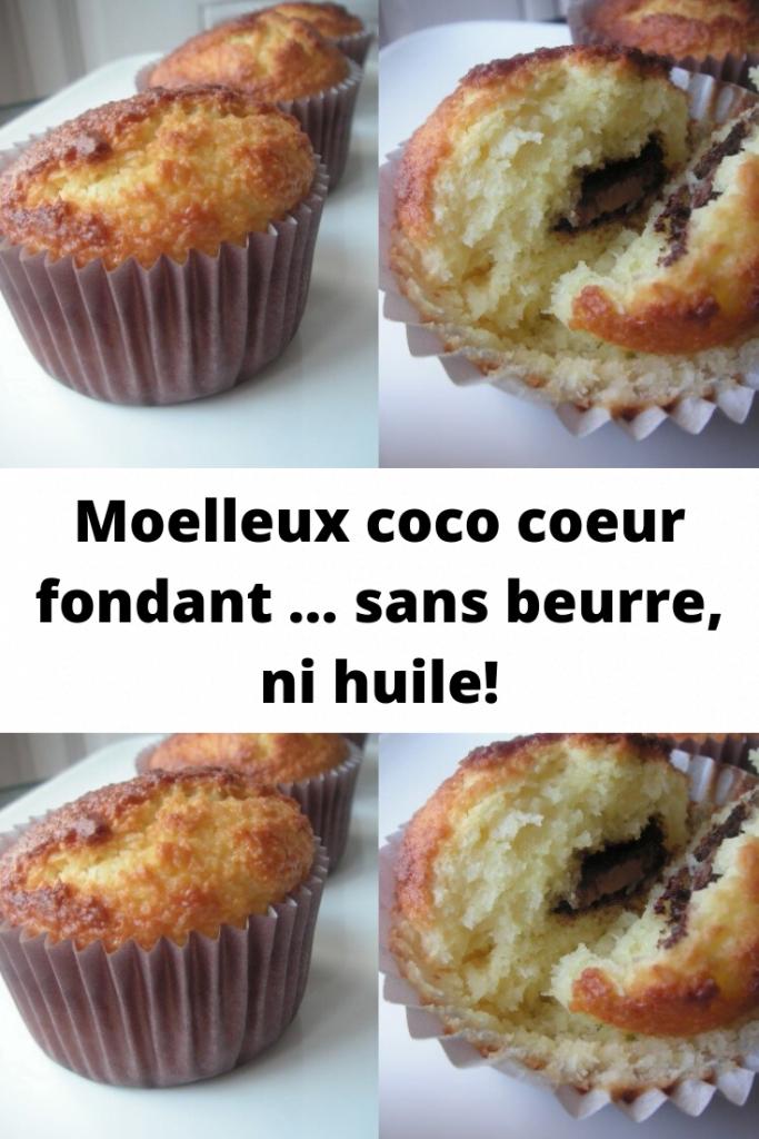 Moelleux coco coeur fondant … sans beurre, ni huile!